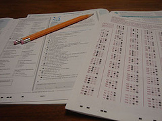 A Scantron answer sheet and test booklet similar to the ones on the ACT