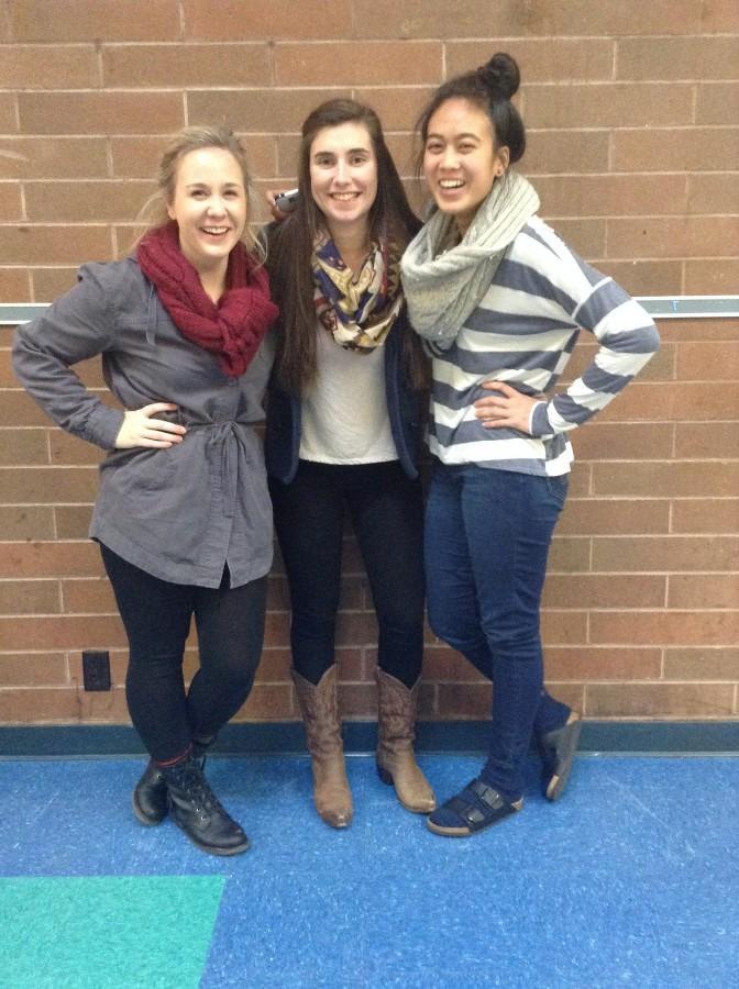 Samantha Sandberg, Maddie Collins and Dannise Matarlo rock their winter scarves