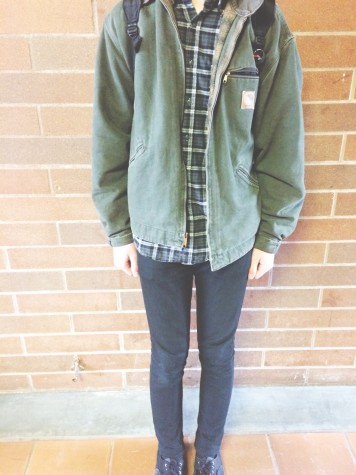 Sophomore Joe Devoe, pairs together a flannel and a Carhartt jacket with black pants to create a nice edgy look.