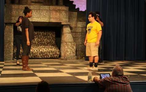 AnnaMarie Meyer and Peter Gustafson are shown in an early rehearsal of La Salle's fall play.