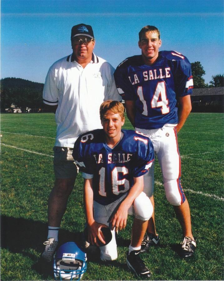 Coach Hazel and Mr. Adam Hazel pose with their father