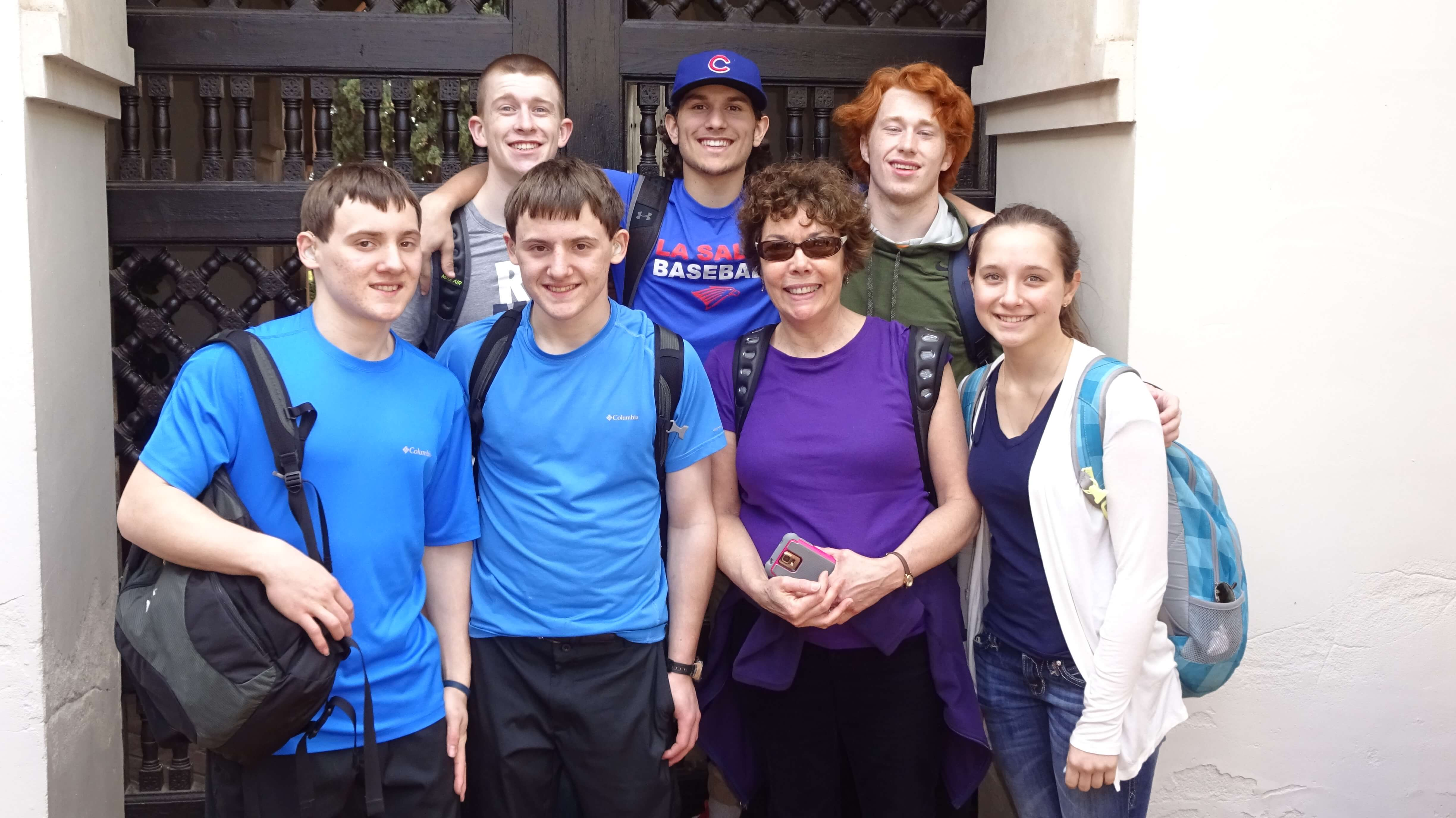 Mrs. McDonald touring Malaga, Spain with juniors from La Salle