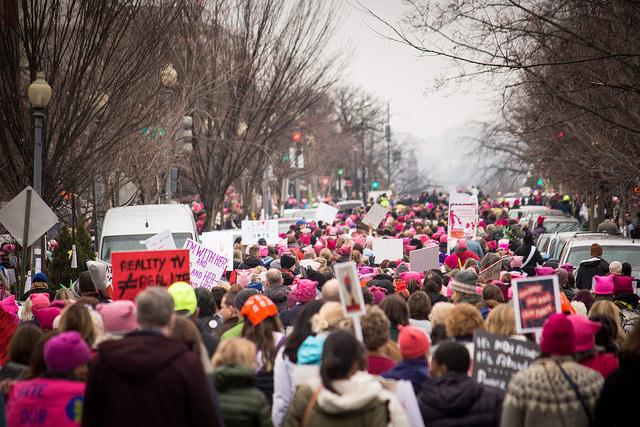 Participants in the Women's March on Washington walk toward the capital.