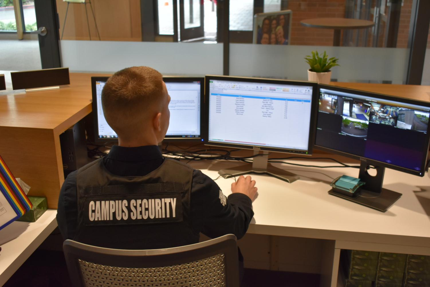 Campus Safety Officer Mr. Weichold will be able to monitor all of the cameras via his desktop.