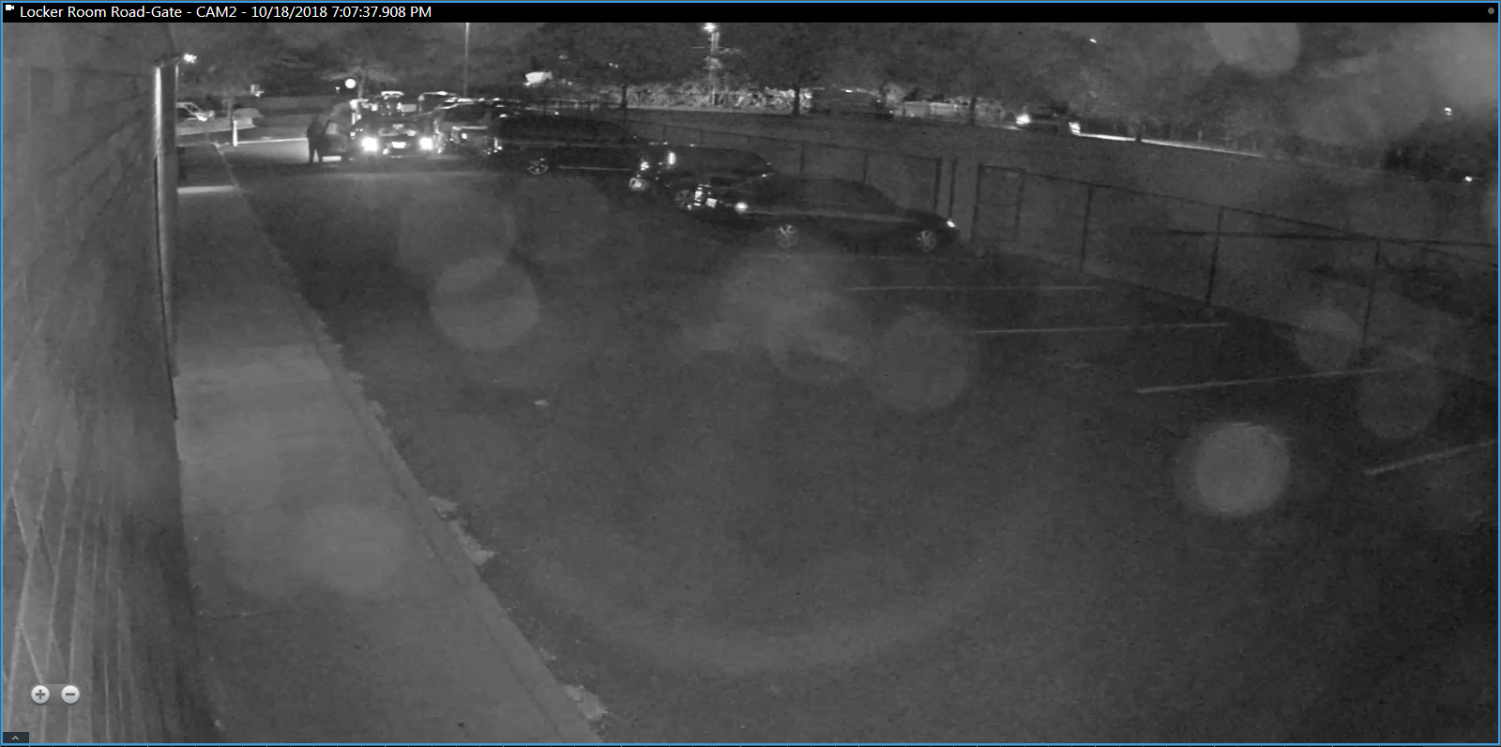 Camera footage provided by La Salle campus security shows a vehicle with two men parked in front of Griffin Cardwell's truck before breaking into the vehicle.