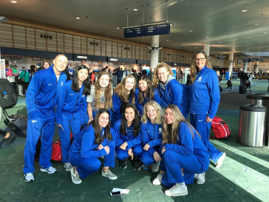 The girls basketball team before they leave for the Nike Tournament of Champions in Phoenix, Arizona.