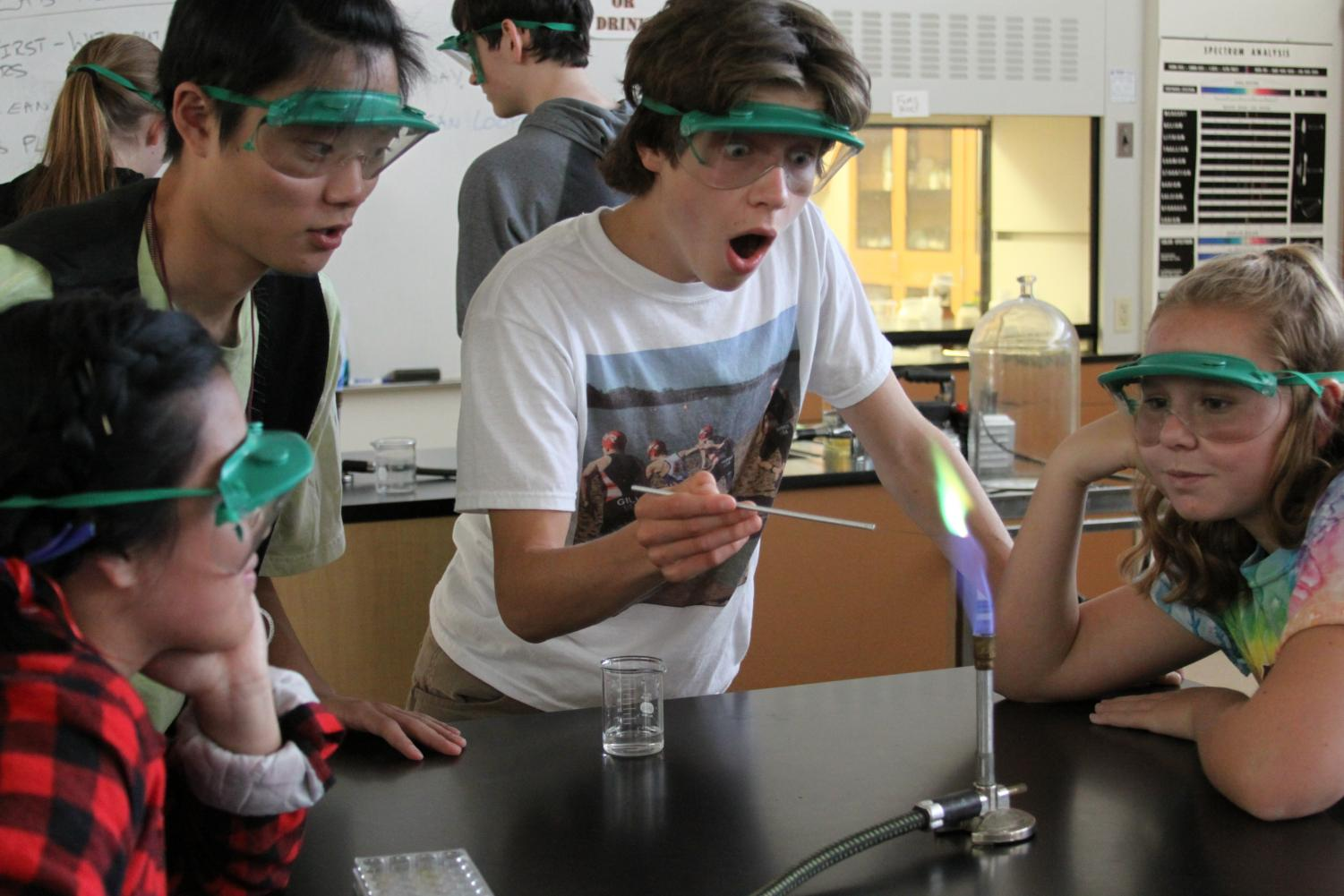 Students in chemistry work on a flame experiment.