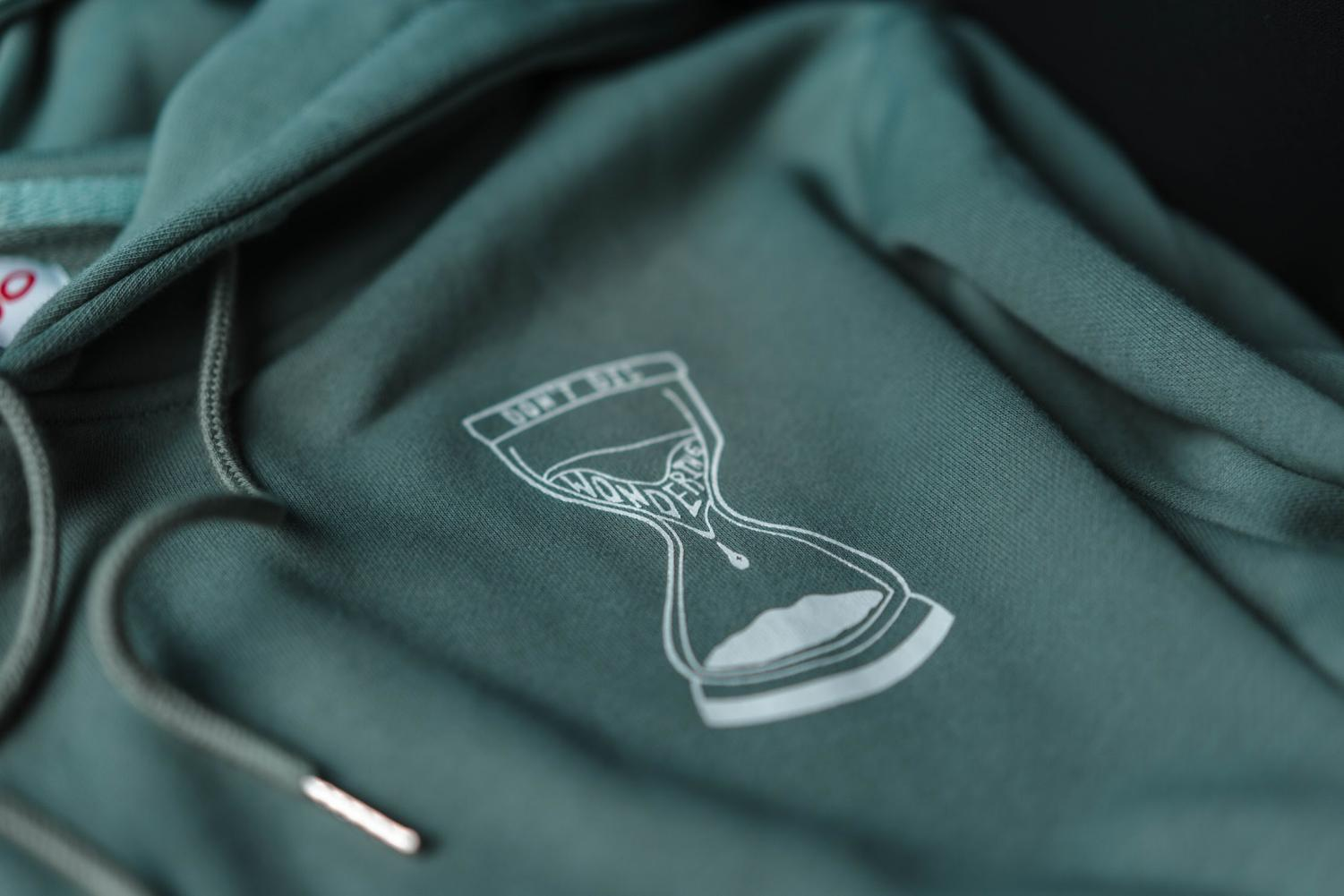 The Bonjo hoodie features an hourglass design with the brand's slogan,