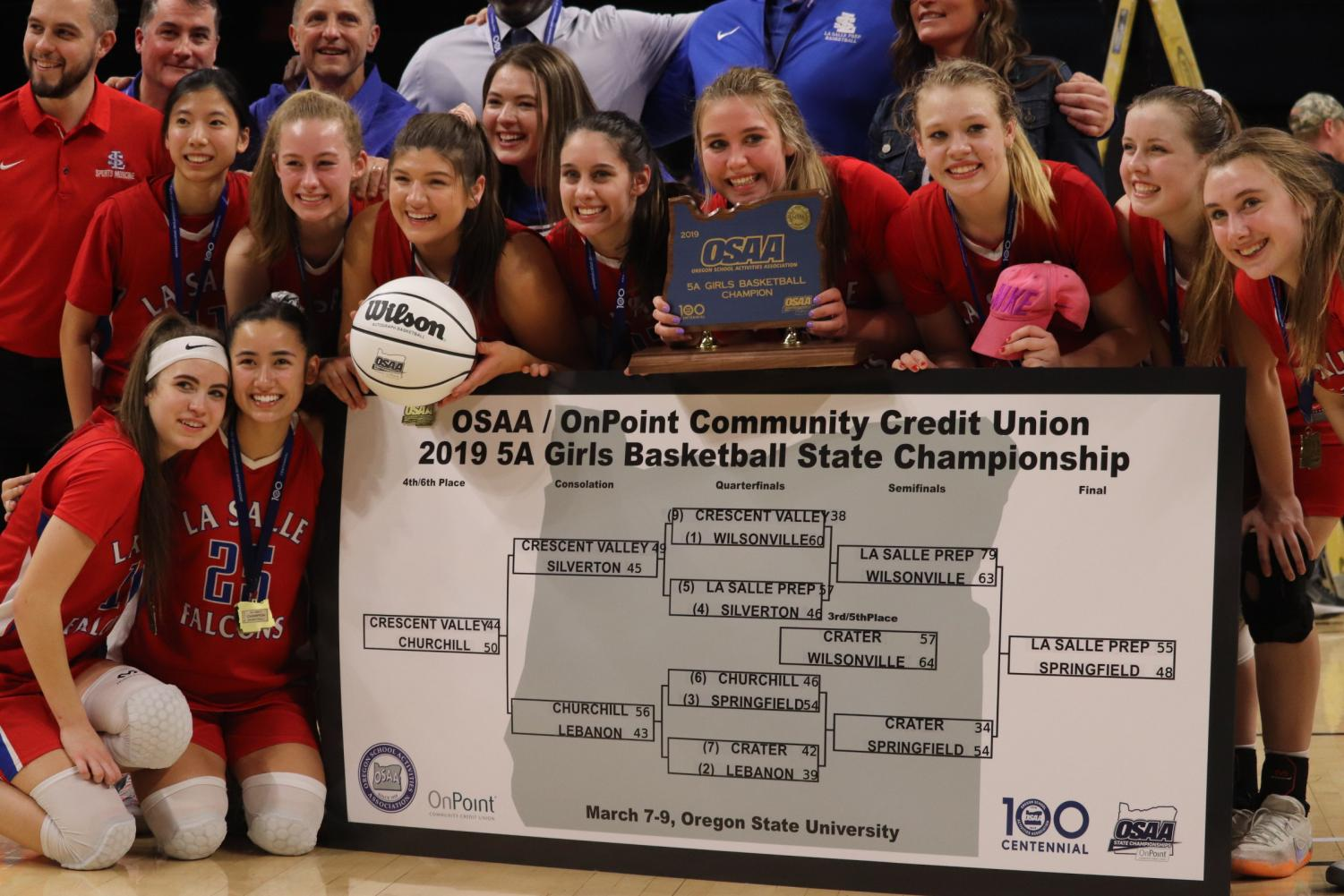 The+whole+team+gathers+around+the+final+bracket+presented+by+OnPoint+Community+Credit+Union%2C+holding+the+state+champion+plaque+and+first+place+ball.