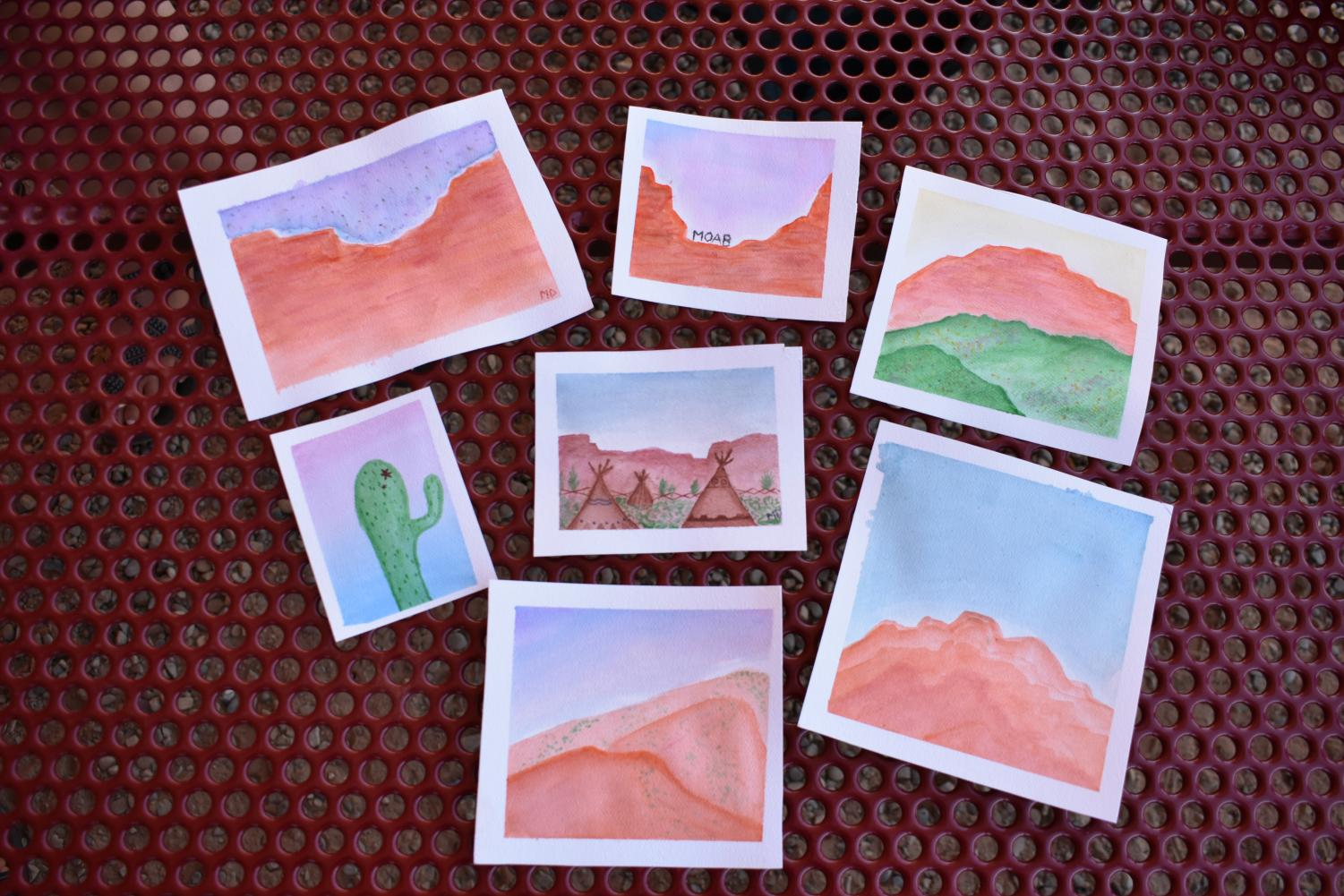 Watercolor+portraits+of+Moab+by+senior+Molly+Dugan.