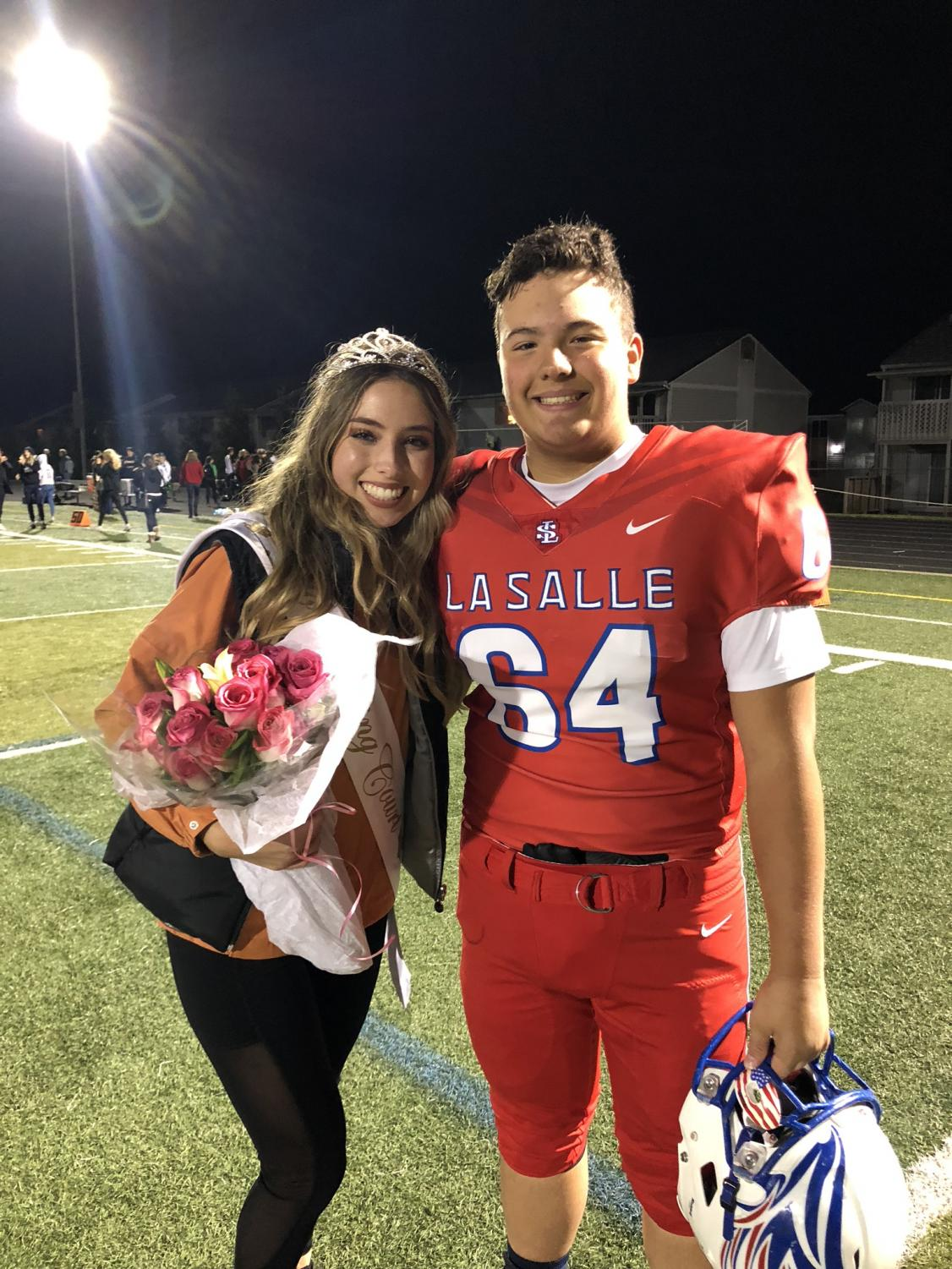 Griffiths and her brother William after the Falcons won over Parkrose during the Homecoming game and after Griffiths won Homecoming queen.