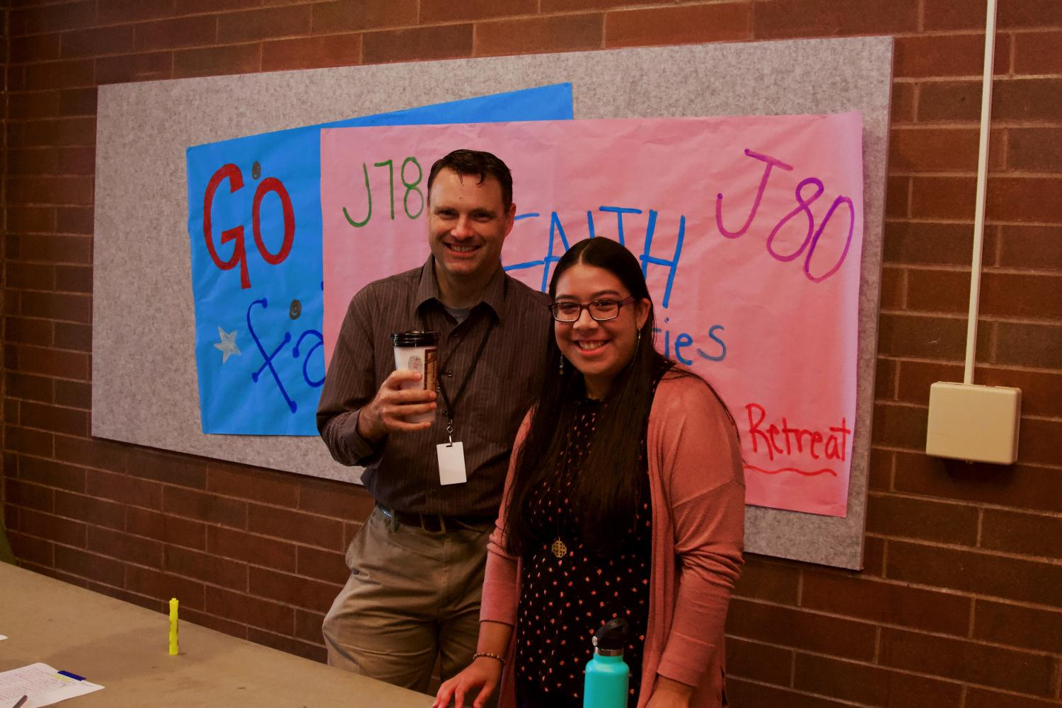 Director+of+Faith+Gary+Hortsch+and+senior+Aylin+Begines+Flores+welcoming+students+to+sign+up+for+Jouney.