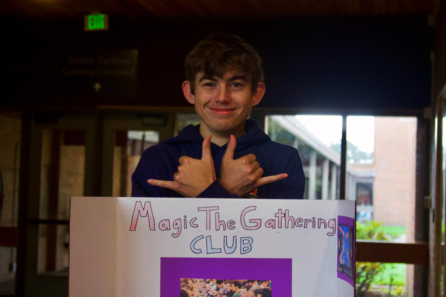 Senior+Sam+Meyer+representing+his+new+Magic+the+Gathering+Club.