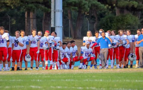 Before the start of the game against Del Norte on Sept. 6, seniors Brandon Lopez and JaJuan Lane, freshman Keenan Terbet, and sophomore Jacob Waterman are pictured kneeling during the national anthem.