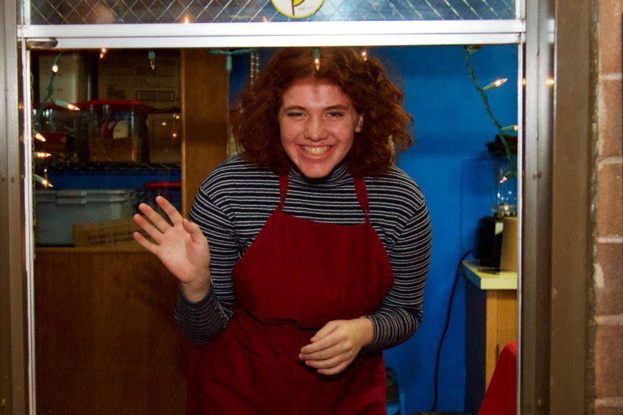 Sophomore barista Mary Hanley working at Café Justo.