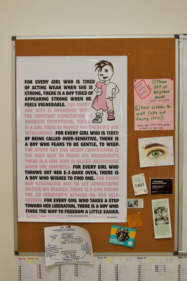 A poster addressing gender roles in health teacher Ms. Caitlin Hudson's classroom.