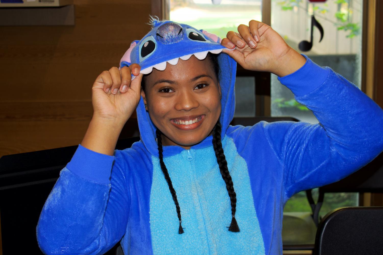 Senior+Savanah+Jameson+shows+off+her+Stitch+onesie+on+Disney+character+day.