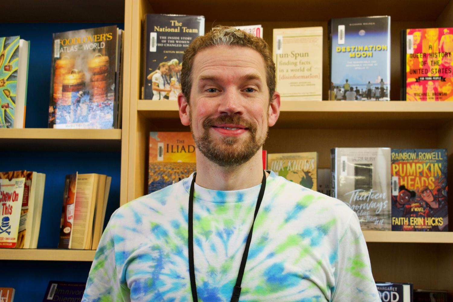 Math+teacher+Mr.+Kieron+Redford+represents+the+staff+with+his+tie+dye+shirt+on+class+colors+day.