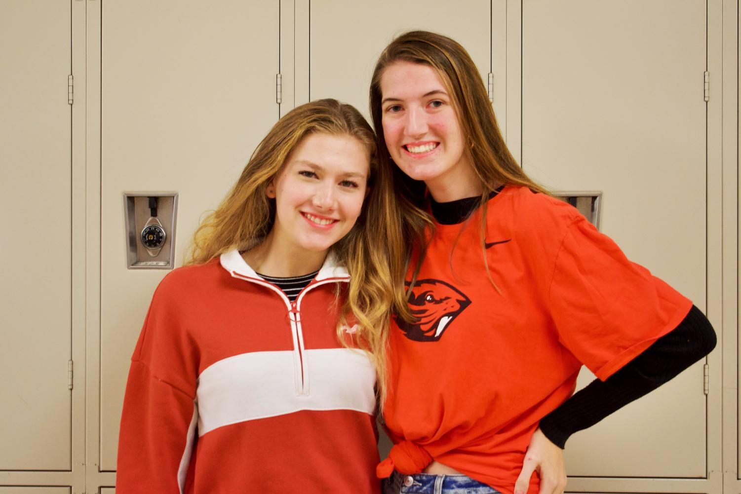 Juniors+Gretchen+Pauli+and+Mallory+Middendorff+dress+in+orange+to+represent+the+class+of+2021+on+class+colors+day.