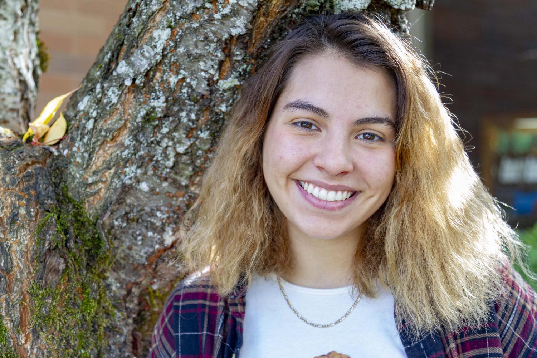 Sophomore Gracelyn Rael enjoys Art Foundations with Ms. Cha.