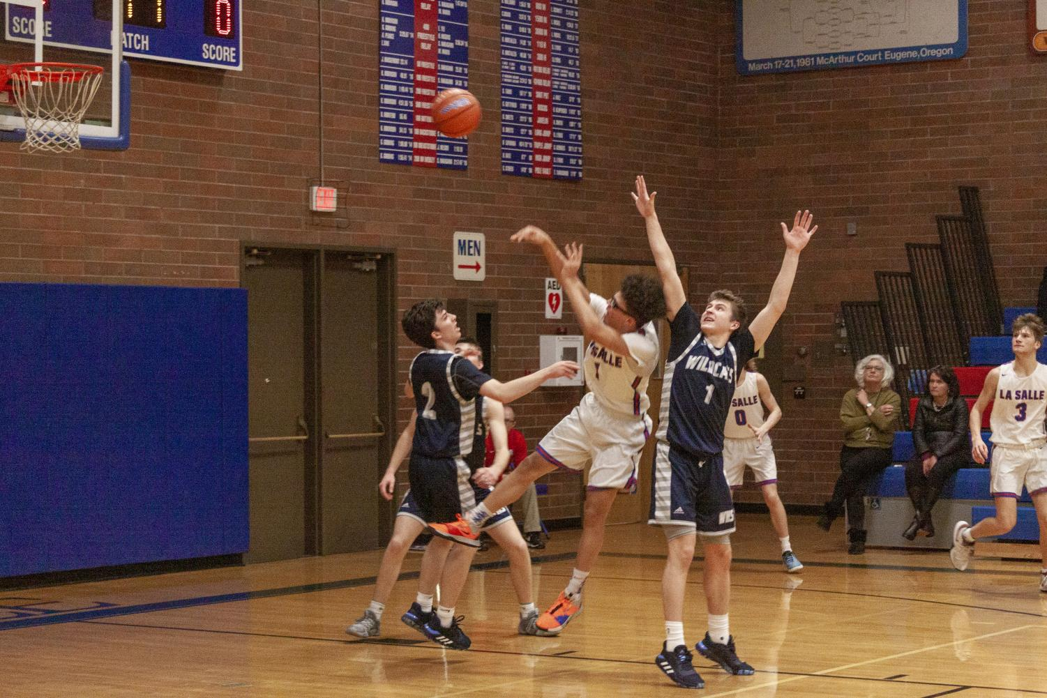 In+an+intense+game+against+%238+Wilsonville%2C+the+Falcons+fell+short+by+3+points+with+a+final+score+of+45-48.