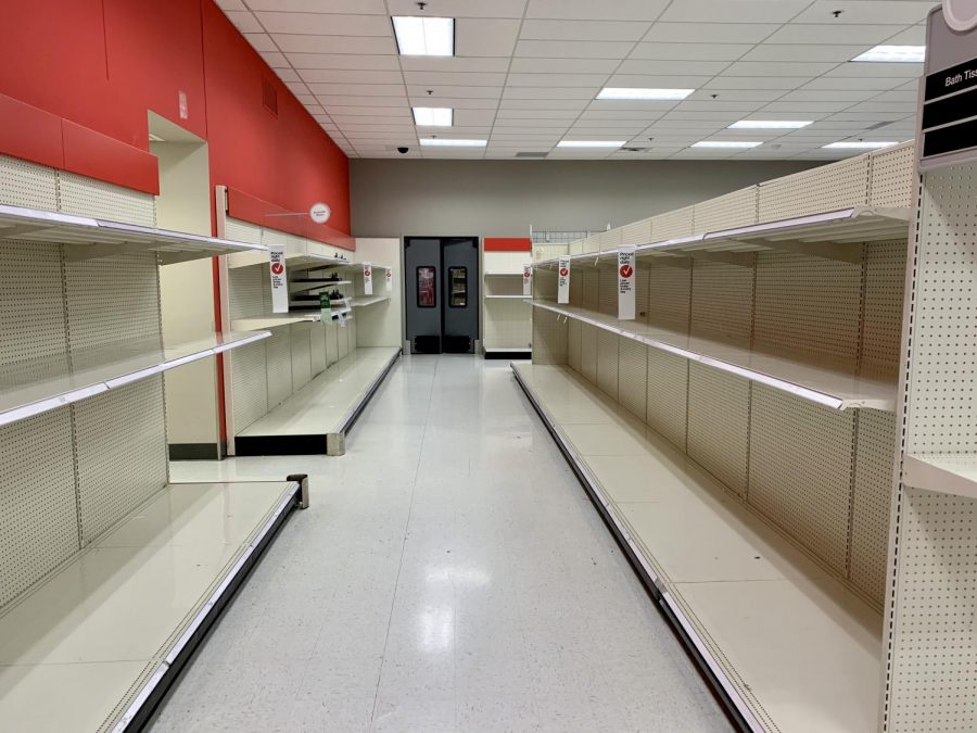 Aisles+at+Target+Clackamas+that+were+once+fully+stocked+with+paper+products+now+sit+completely+empty.
