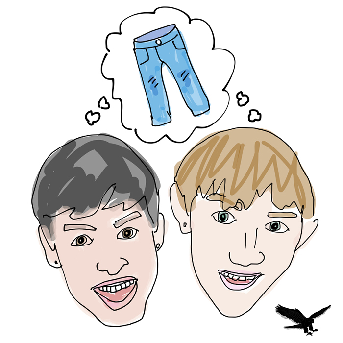"""""""Thinking Pants"""" is hosted by seniors Liam Rinehart and James Kelley."""