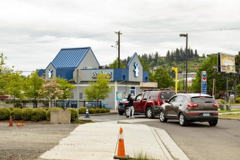Coffee bars such as Dutch Bros remain open and busy as ever. While the walk-up window is closed, the drive-thru remains open with social distancing guidelines in place.