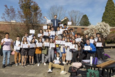 Thursday, March 12 was the last day that the Class of 2020 would be on campus as students, although at the time, digital learning had been announced for only the next two weeks of school. Just in case, a group of seniors held a 'fake graduation' in the courtyard after school.