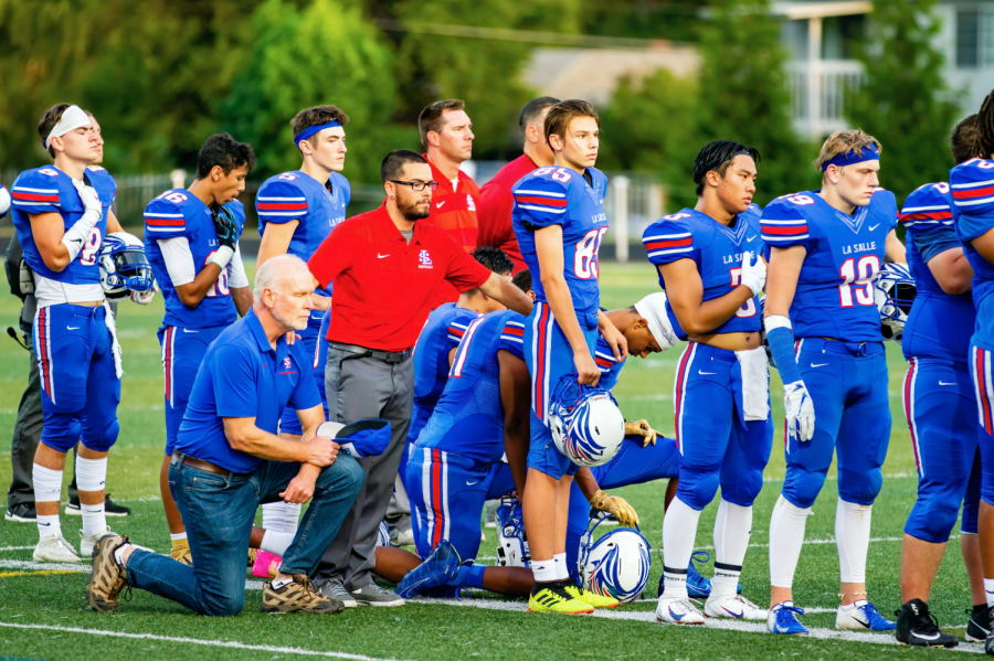 """When Mr. Tom McLaughlin kneeled to protest inequality and police brutality alongside a few other members of the football team, """"it helped me to really make a choice about what I was going to do for justice — what I was willing to do,"""" he said."""