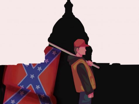 One participant in the mob paraded through the United States Capitol building while carrying the Confederate flag.