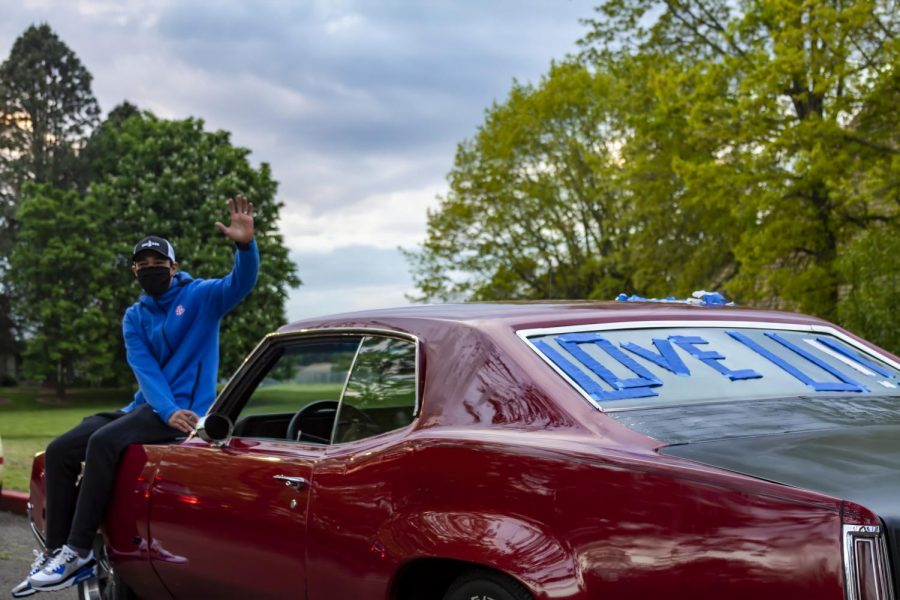 "Mr. Yoshihara waved to students from his car during the ""Be The Light"" event that took place in the spring of 2020."
