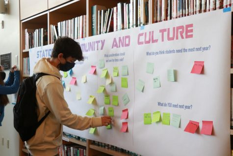 Students wrote down their thoughts about next school year on post-it notes in the library after classes.