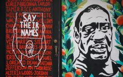 A mural of George Floyd's face in downtown Portland, alongside the names of other Black Americans who died at the hands of police.