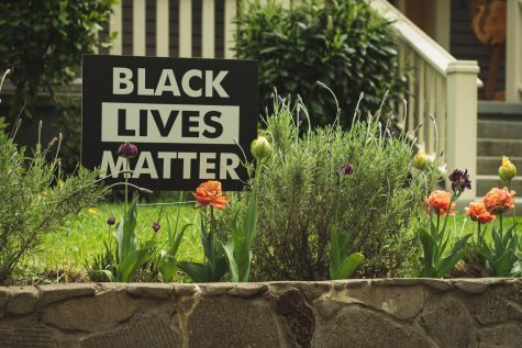 Support for the Black Lives Matter movement has been displayed in the form of signs.