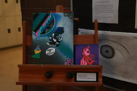 Sophomore Jackson Chapman used acrylic and spray paint to create two pieces of art.