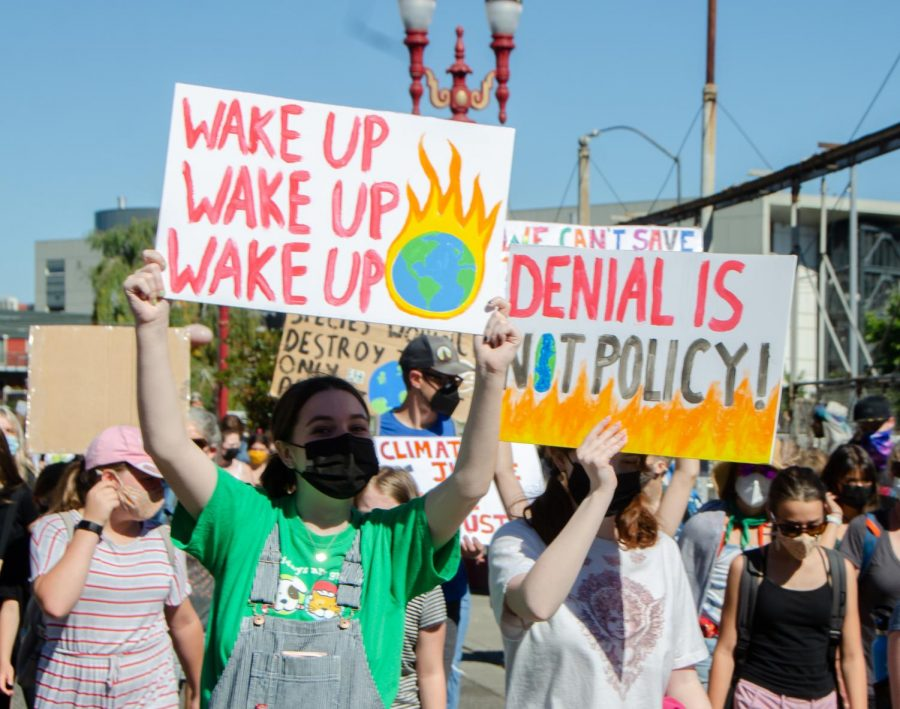 Many students at the march held signs protesting the inaction of political leaders on climate change.