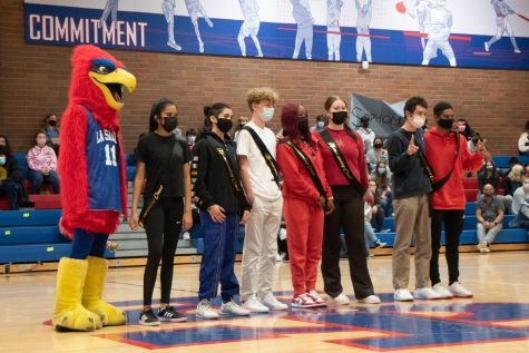 At Tuesdays pep assembly, homecoming court announcements were made by a member of Executive Council.